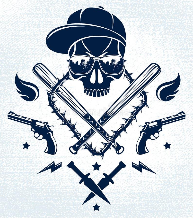 Emblème criminel brutal ou logo de bande avec les battes de baseball agressives de crâne et d'autres armes et éléments de concept illustration de vecteur