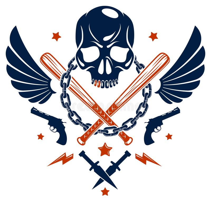 Emblème criminel brutal ou logo de bande avec les battes de baseball agressives de crâne et d'autres armes et éléments de concept illustration stock