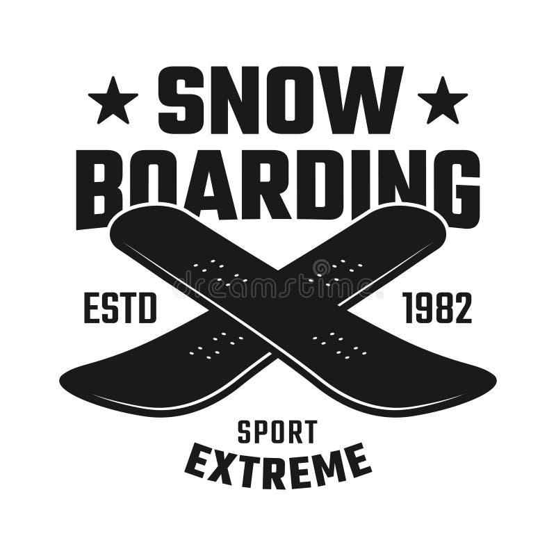 Emblème croisé de deux conseils pour faire du surf des neiges le club illustration de vecteur