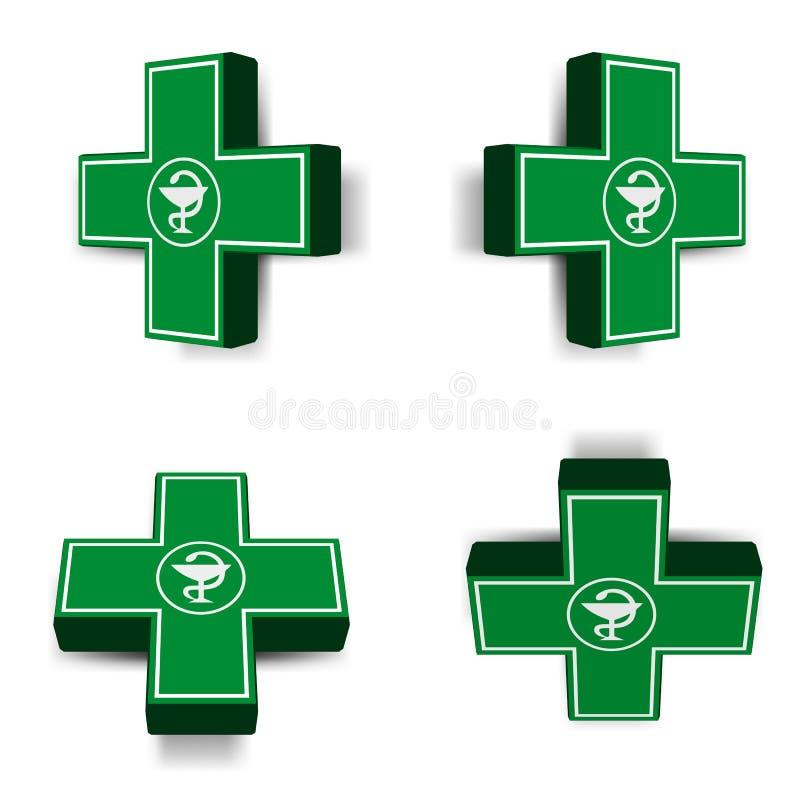 Emblème croisé médical vert illustration libre de droits