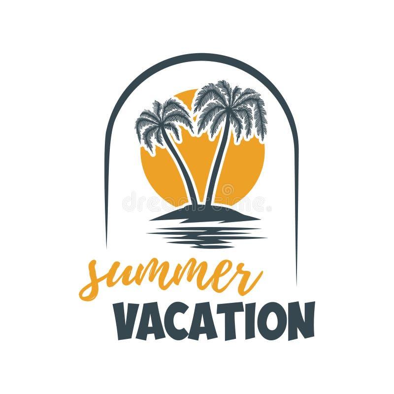 Emblème d'été avec des paumes Concevez l'élément pour le logo, label, signe, T-shirt Illustration de vecteur illustration libre de droits