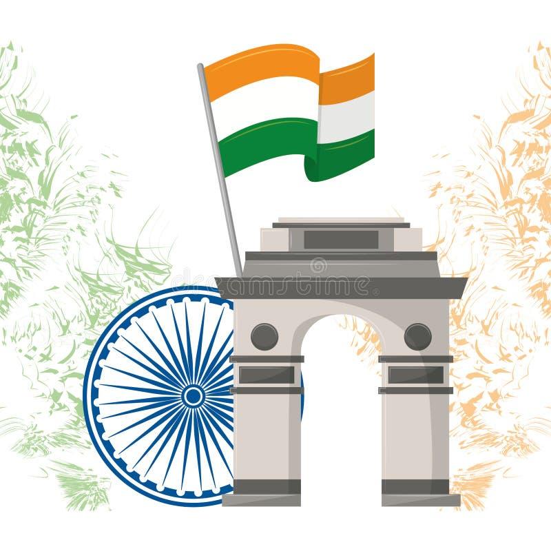 Emblème d'architecture de monument de passage de l'Inde illustration de vecteur