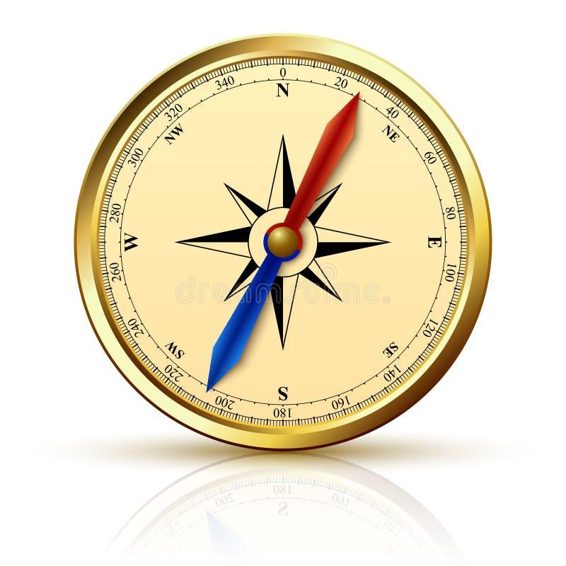 Emblème d'or de boussole de navigation illustration de vecteur