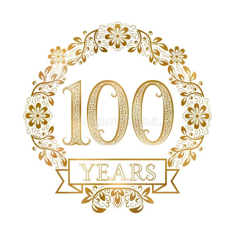 Emblème d'or de centième anniversaire d'années dans le style de vintage illustration libre de droits