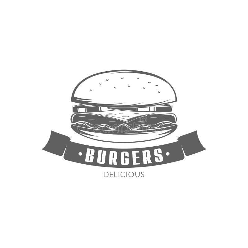 Emblème d'hamburger de vecteur illustration stock