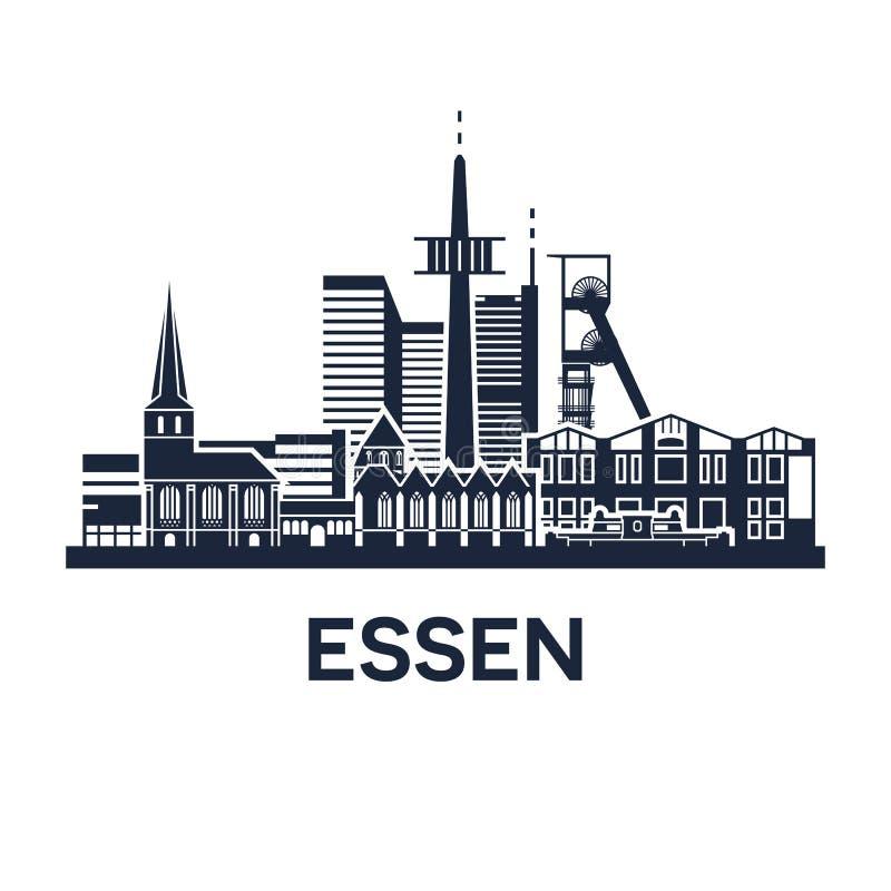 Emblème d'horizon d'Essen illustration stock
