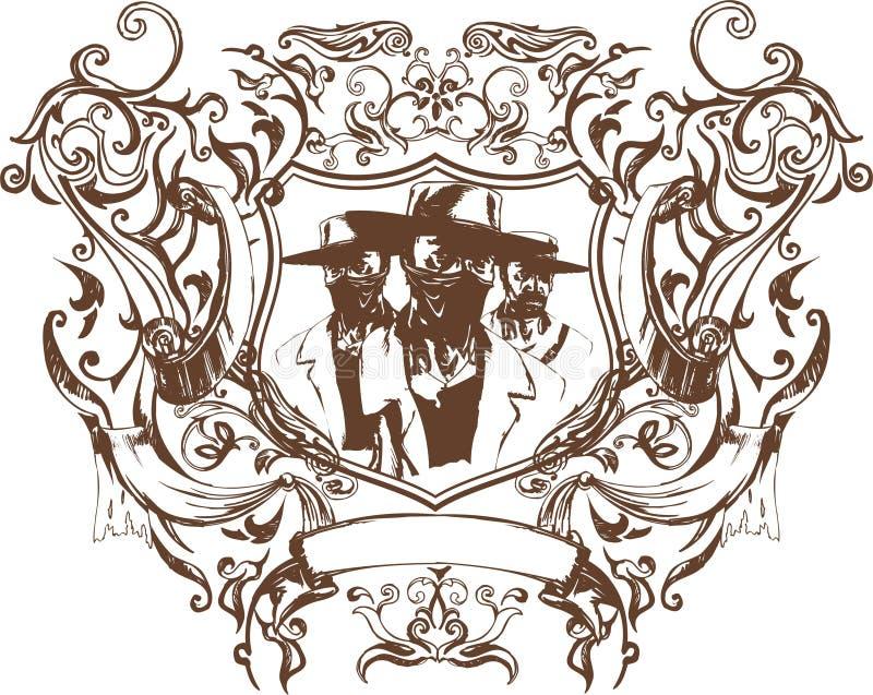 Emblème de bandit de vecteur illustration stock