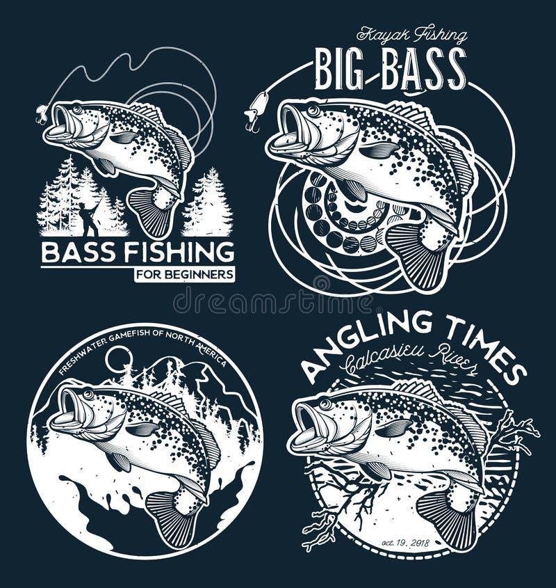 Emblème de Bass Fishing sur le fond noir Illustration de vecteur illustration stock