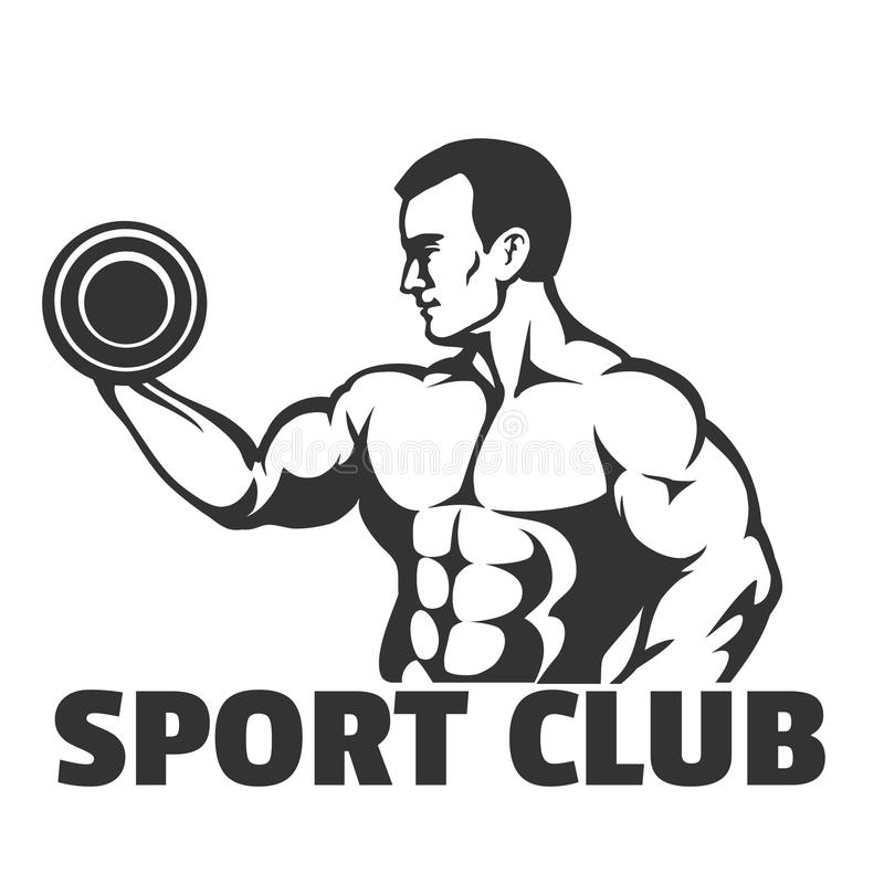 Emblème de bodybuilding ou de gymnase illustration stock