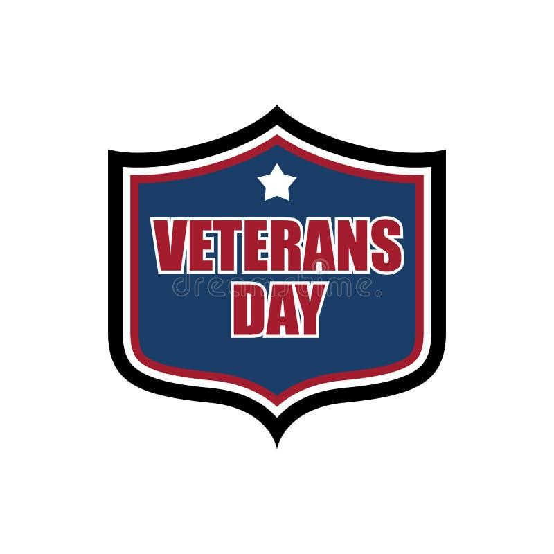 Emblème de bouclier de jour de vétérans Logo militaire de vacances des USA illustration libre de droits