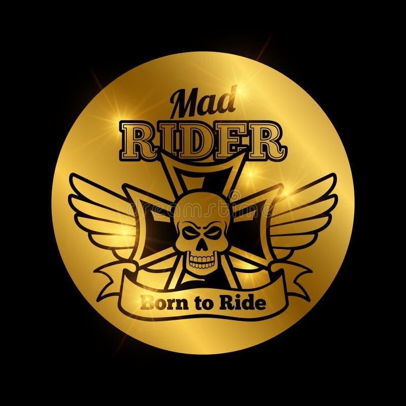 Emblème de cavalier de motocyclette de crâne illustration de vecteur