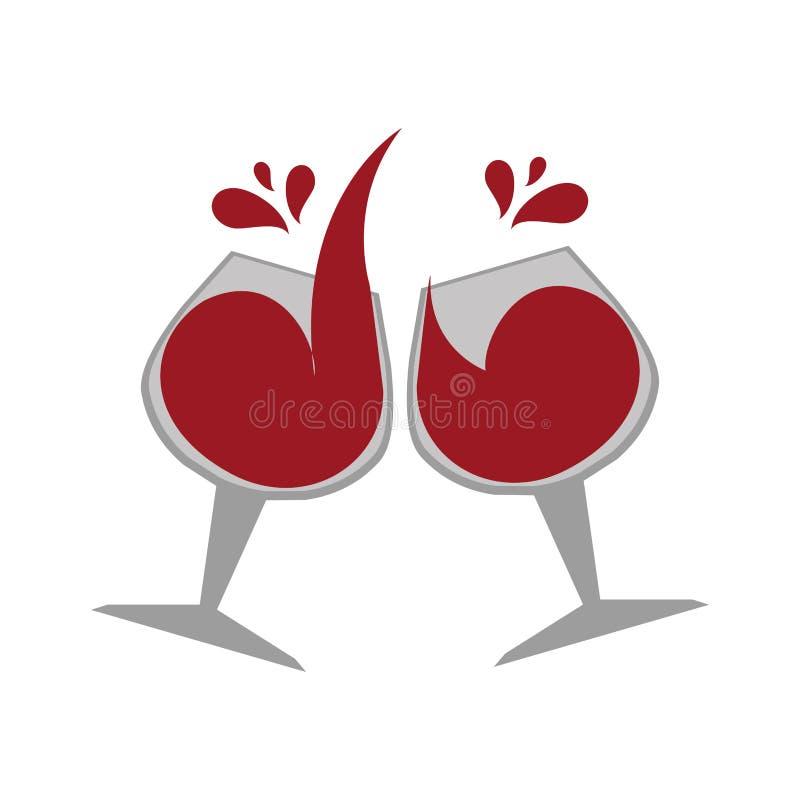 Emblème de couleur avec des verres de vin illustration stock