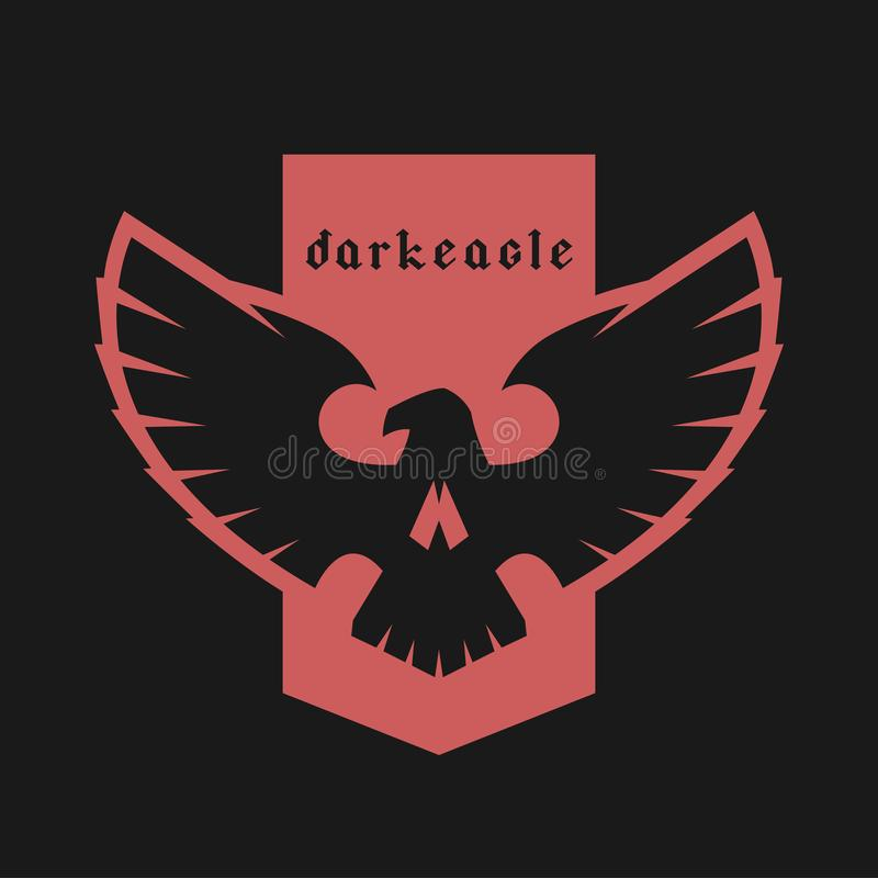 Emblème de crâne d'Eagle, symbole sur un fond foncé Illustration de vecteur illustration de vecteur