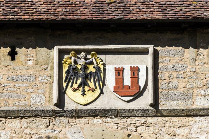 Emblème de der Tauber, porte d'ob de Rothenburg de Kobolzell images libres de droits