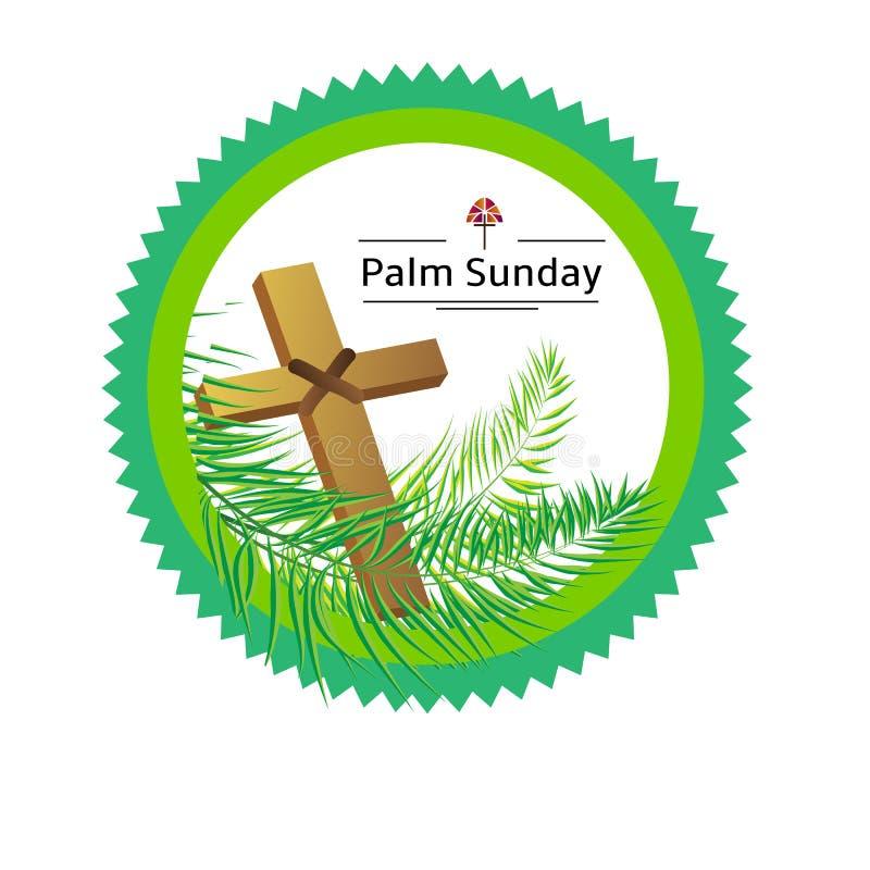 Emblème de dimanche de paume sur le blanc, illustration de vecteur illustration de vecteur