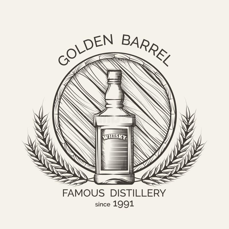 Emblème de distillerie de whiskey illustration de vecteur