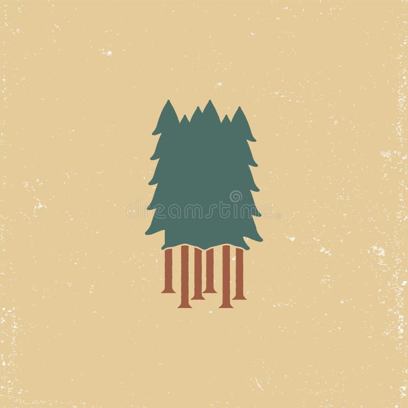 Emblème de forêt de silhouette pour la copie de T-shirt dans le rétro style grunge image libre de droits
