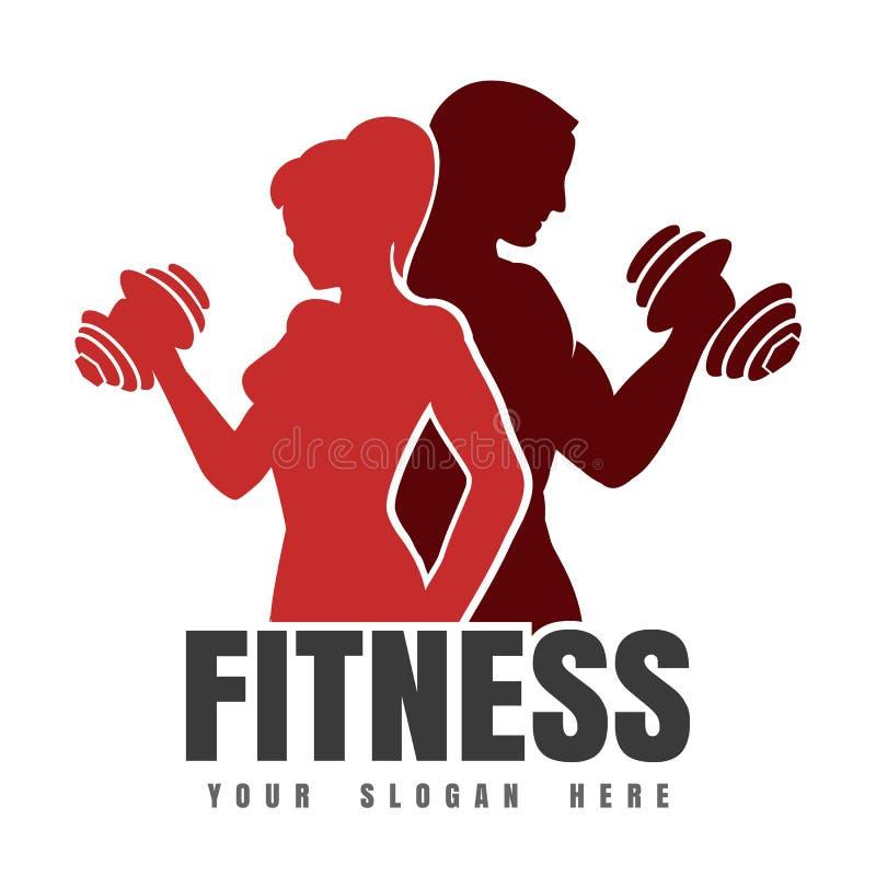 Emblème de forme physique avec des silhouettes d'homme et de femme sportifs illustration stock