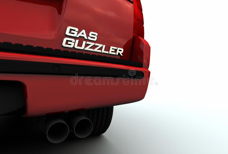 Emblème de gros buveur de gaz sur SUV illustration libre de droits