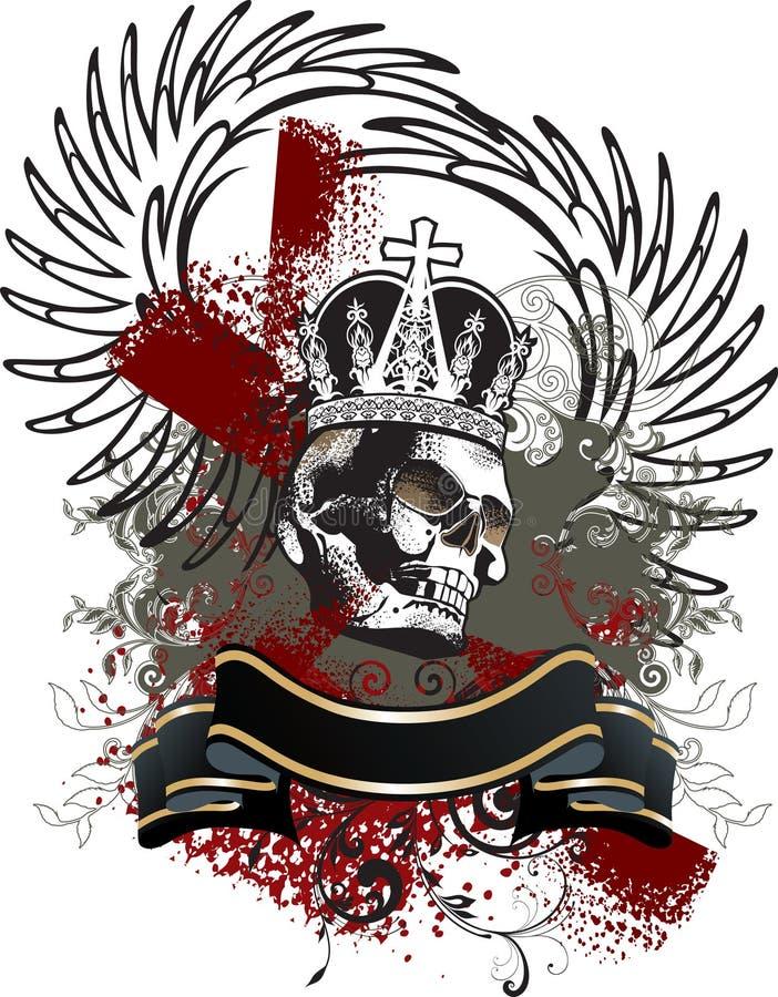 Emblème de grunge de crâne illustration de vecteur