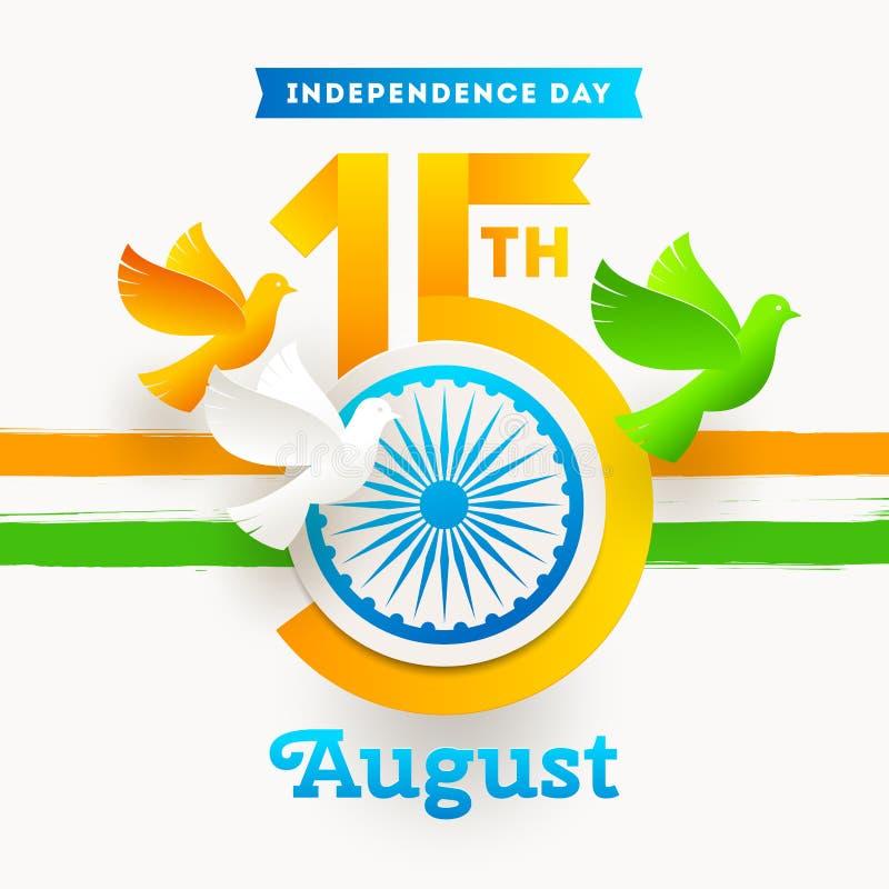 Emblème de Jour de la Déclaration d'Indépendance d'Inde Date de vacances avec la roue et les colombes d'Ashoka dans les couleurs  illustration libre de droits
