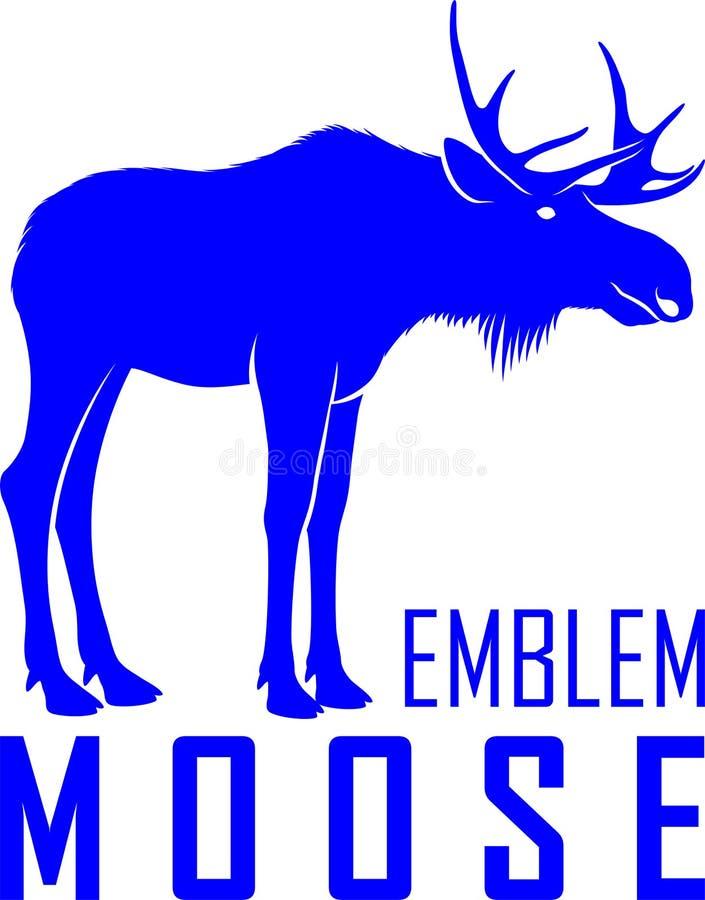 Emblème de label de logo de taureau d'orignaux de vecteur illustration libre de droits
