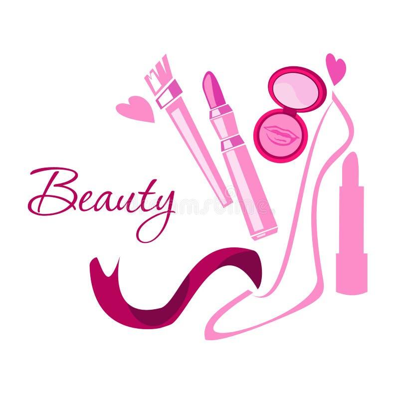 Emblème de logo de beauté de style de maquillage avec des chaussures de poudre de brosse de rouge à lèvres illustration stock