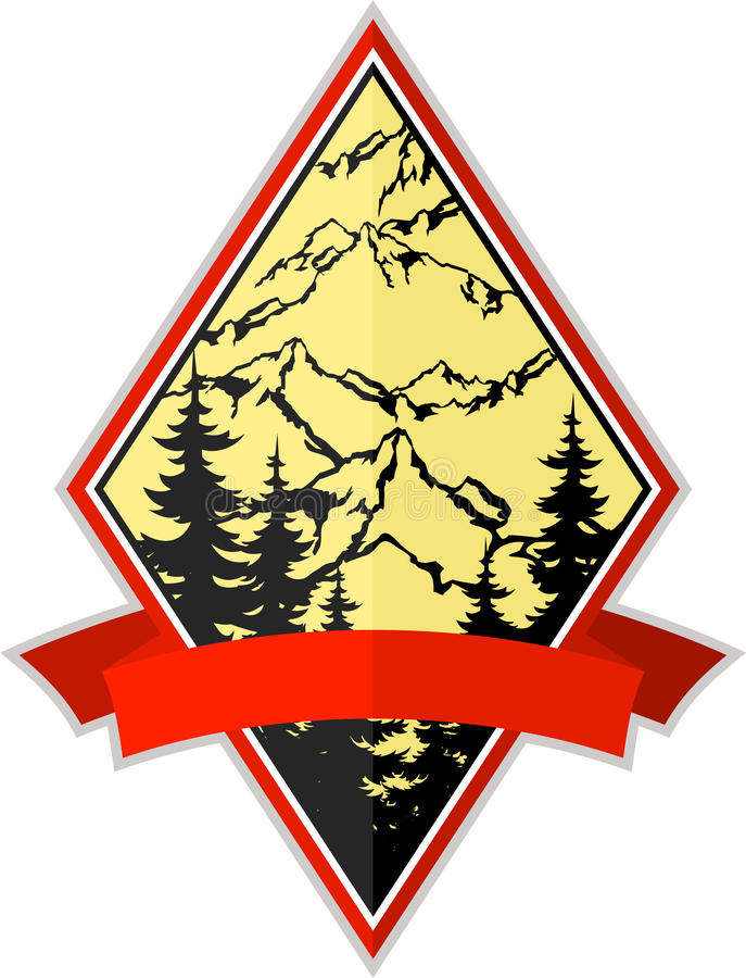 Emblème de logo d'expédition de camping d'aventure de montagne de vecteur illustration de vecteur