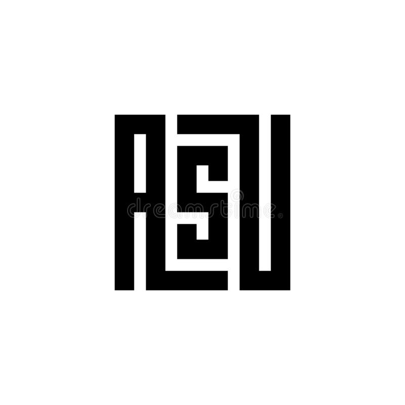 Emblème de logo de la lettre initiale ASU, conception noire et blanche de couleur pour la marque - vecteur illustration de vecteur
