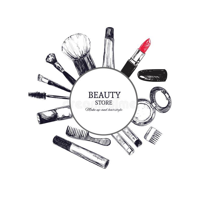 Emblème de magasin de beauté avec le type conception et cosmétiques Salon de beauté Composez l'artiste illustration de vecteur