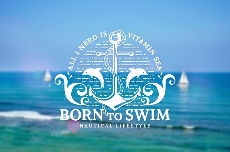 Emblème de mer avec l'ancre et les dauphins sur le fond brouillé illustration libre de droits