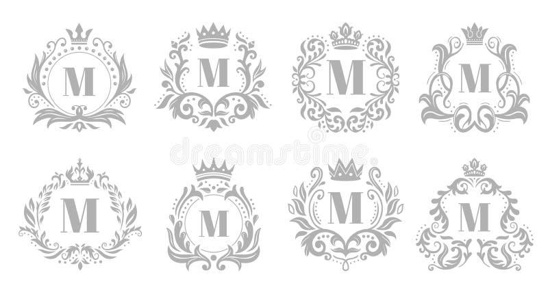 Embl?me de monogramme de cru Le logo argent? fleuri de luxe, les monogrammes h?raldiques et la couronne royale de vieux roi symbo illustration de vecteur