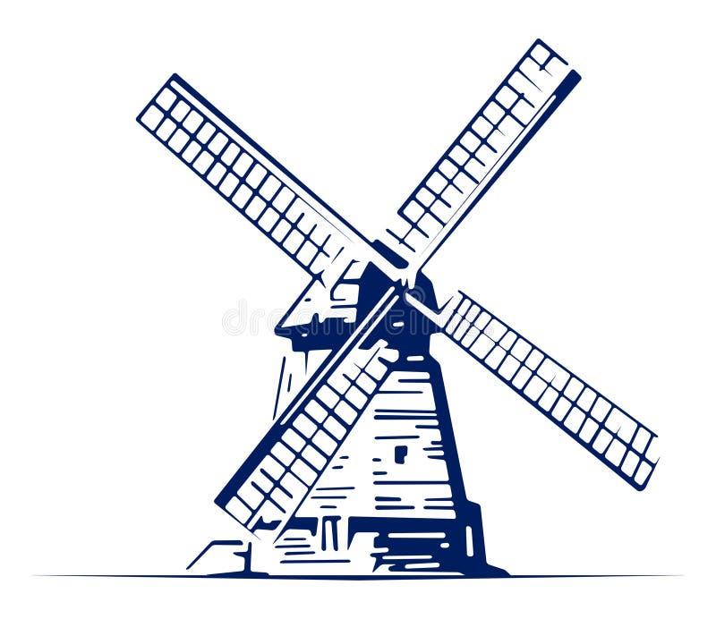 Emblème de moulin illustration stock