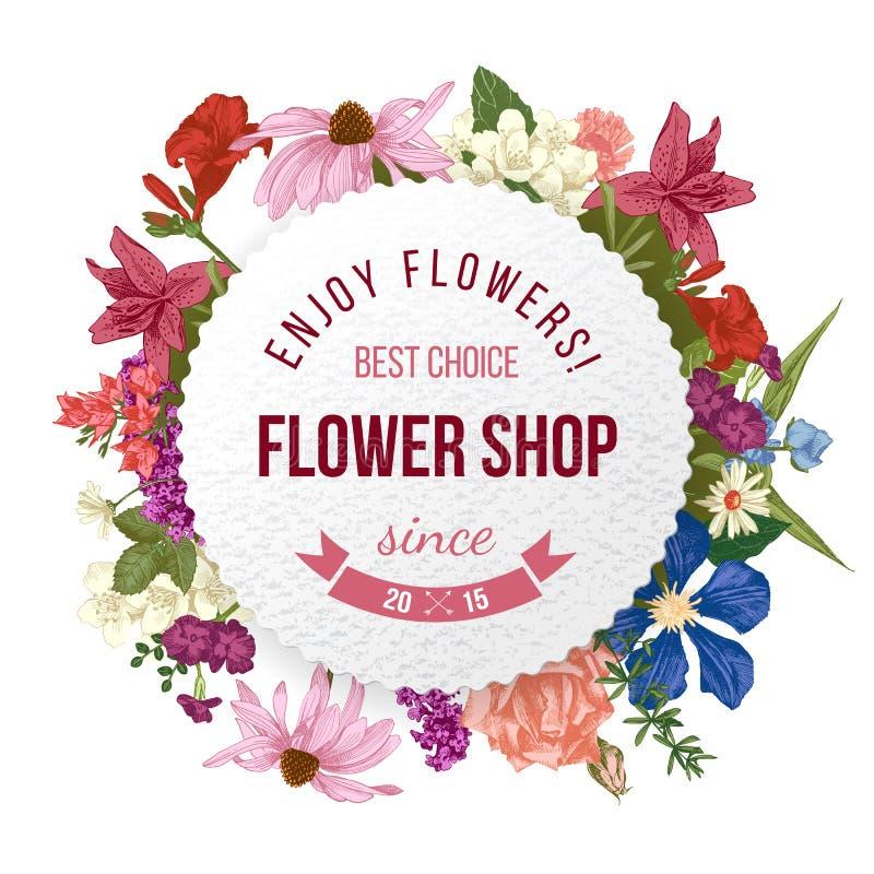 Emblème de papier de fleuriste illustration stock