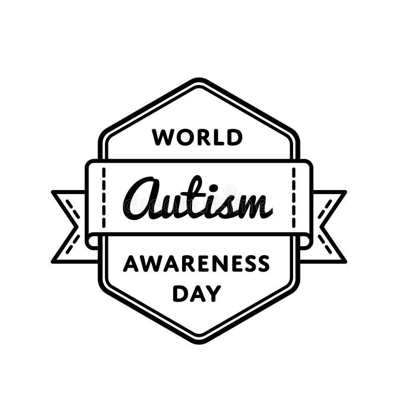 Emblème de salutation de jour de conscience d'autisme du monde illustration libre de droits