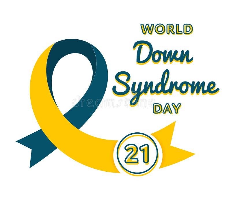 Emblème de salutation de jour de trisomie 21 du monde illustration de vecteur