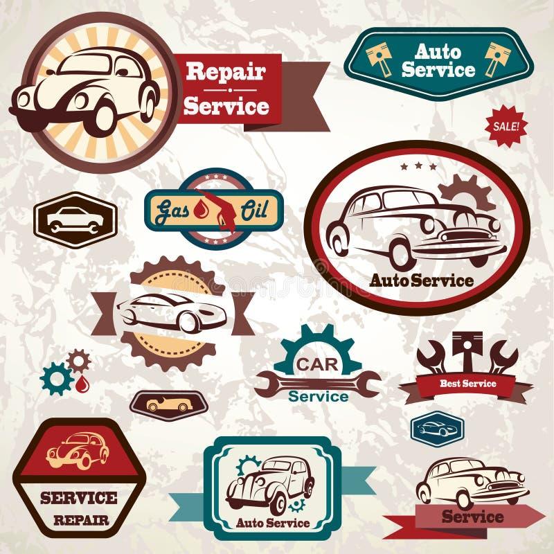 Emblème de service de voiture rétro illustration libre de droits
