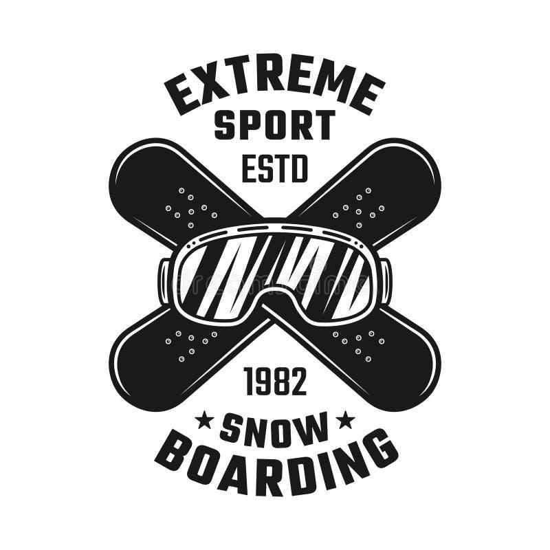 Emblème de snowboarding avec des verres et des panneaux de ski illustration libre de droits
