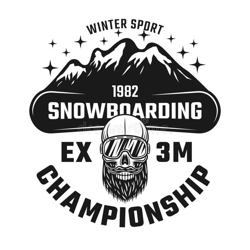 Emblème de vecteur de championnat de snowboarding illustration de vecteur