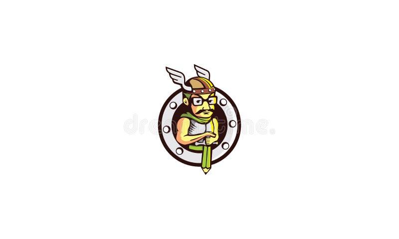 Emblème de vecteur d'icône de logo de guerrier illustration libre de droits