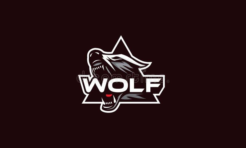 Emblème de vecteur d'icône de logo de loup illustration de vecteur