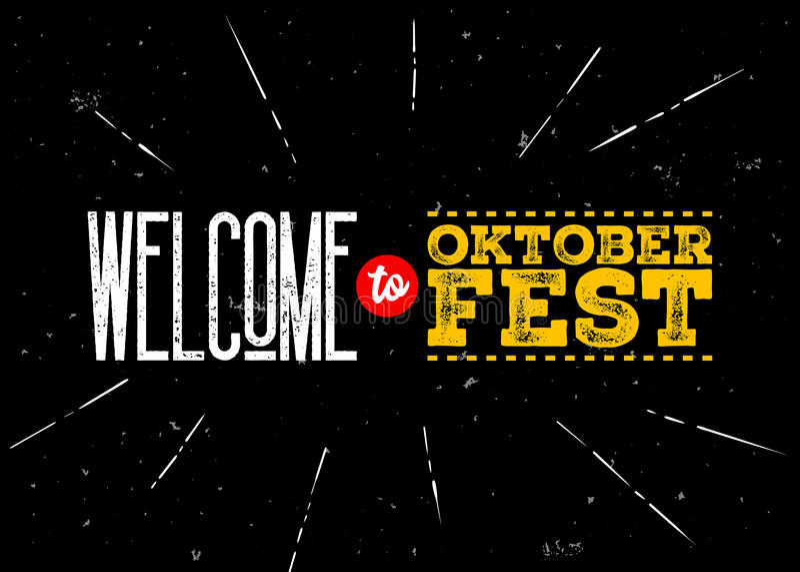 Emblème de vecteur d'Octoberfest Accueil à l'inscription d'Oktoberfest illustration stock
