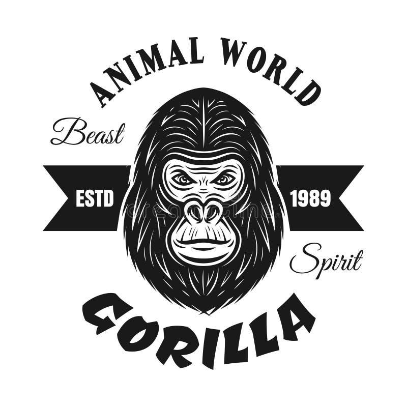 Emblème de vecteur de noir de tête de gorille d'isolement sur le blanc illustration libre de droits