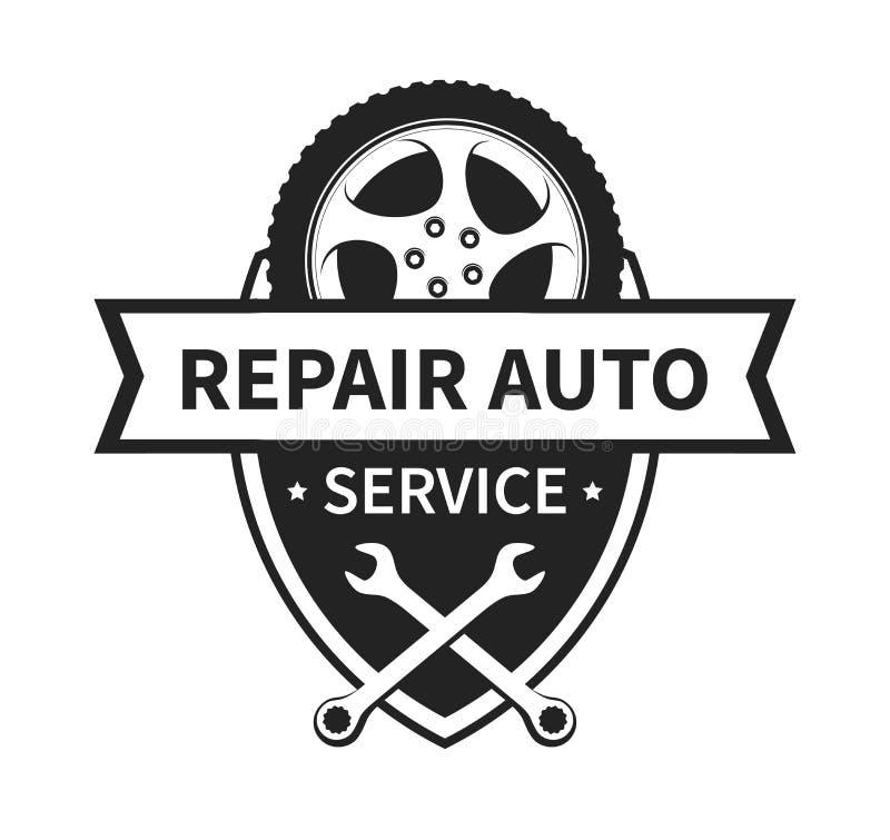 Emblème de vecteur pour le service de voiture et de pneu de réparation illustration libre de droits