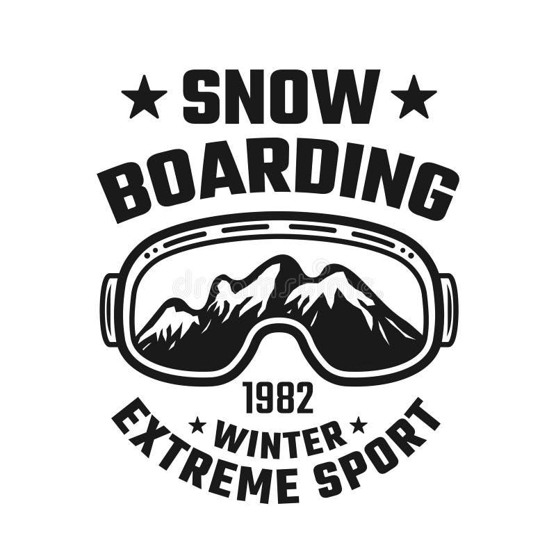 Emblème de vecteur de snowboarding avec des verres de ski illustration de vecteur