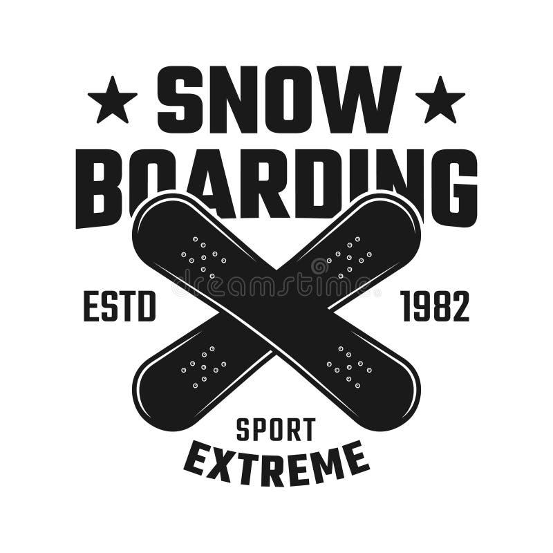 Emblème de vecteur de snowboarding avec deux conseils croisés illustration libre de droits
