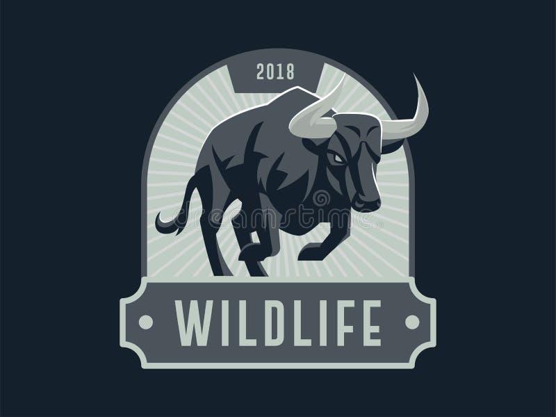 Emblème de vintage avec l'illustration musculaire forte de taureau illustration de vecteur