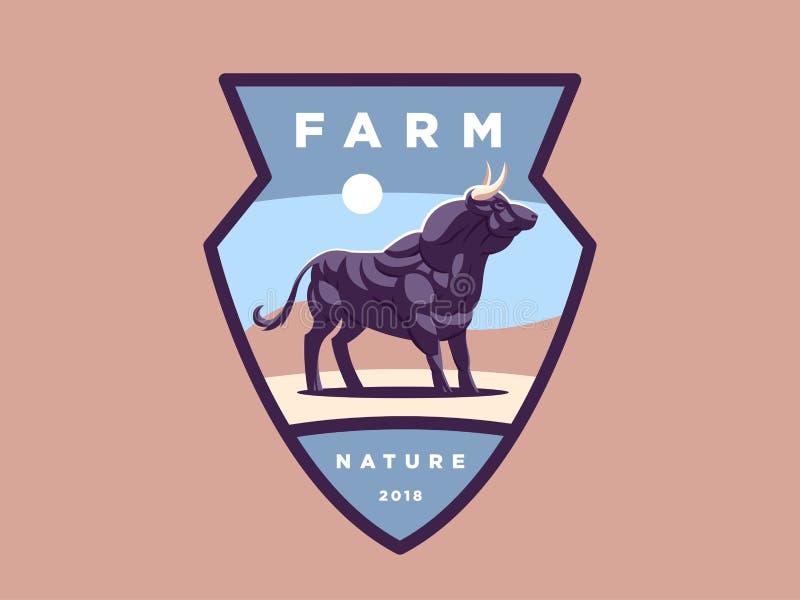 Emblème de vintage avec l'illustration musculaire forte de taureau illustration libre de droits