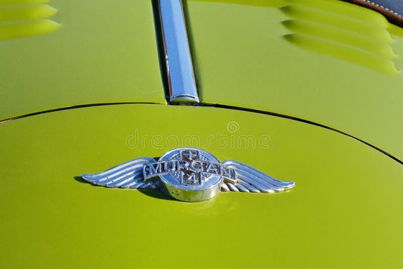 Emblème de voiture de classique de roadster de Morgan Plus 4 image libre de droits
