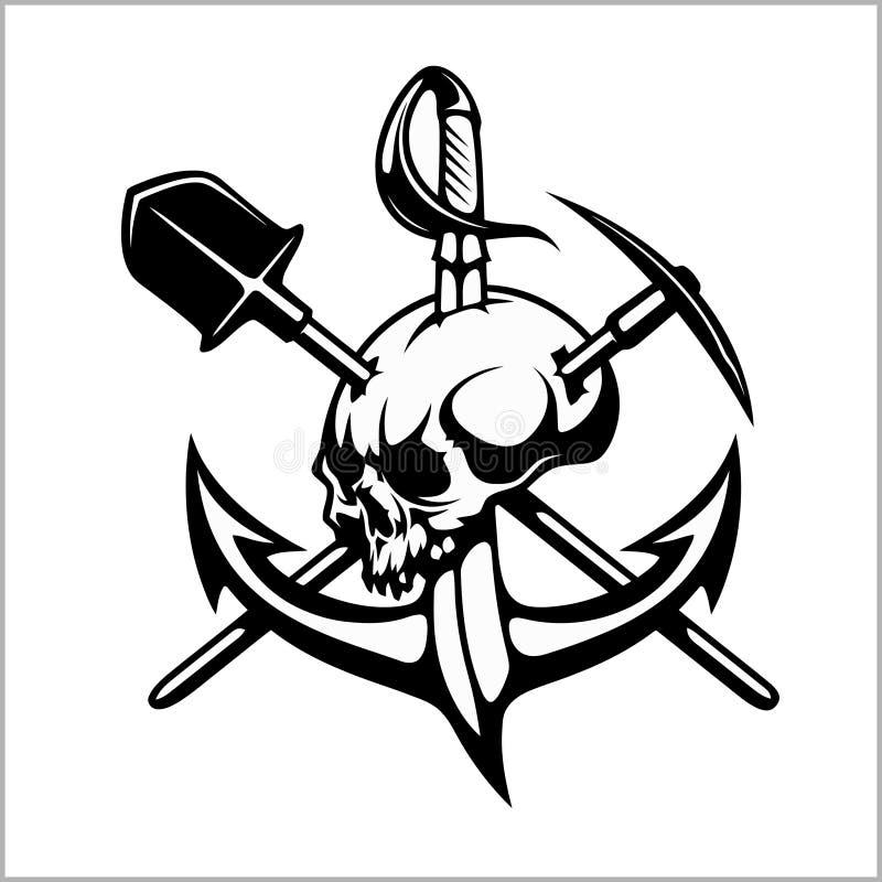 Emblème des chasseurs de trésor, du signe héraldique - chasseur de trésor, du vecteur pour la copie ou de la conception illustration de vecteur